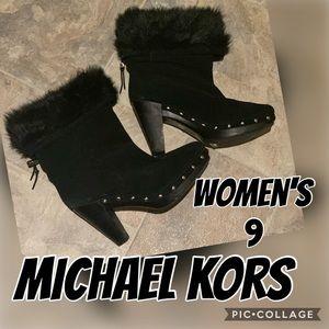 Michael Kors sexy black fur boots size 9